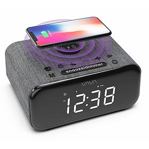 VAVA  Bluetooth Speakers With Wireless Charger Support FM Dual Alarm Soft Fabric Finish