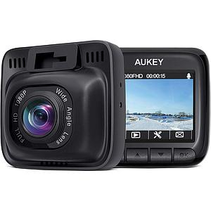 Aukey Dash Cam Full HD 1080P 6-Lane Wide-Angle Lens Black
