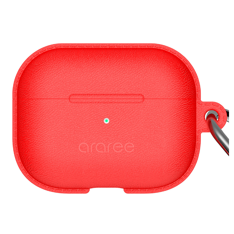 ARAREE POPS LEATHER TEXTURE SILICONE  CASE FOR APPLE AIRPODS PRO - RED